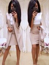 2019 Mới Phù Hợp Với Công Sở Form Đầm Suông Hoặc Mặc Áo Dài Áo Khoác Blazer Vỏ Đầm 2 Mảnh Nữ Bộ