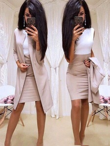 Image 1 - Trajes nuevos de oficina para mujer, vestido Formal, ropa de negocios, Chaqueta larga para mujer, vestido de vaina, conjuntos de 2 piezas, 2019