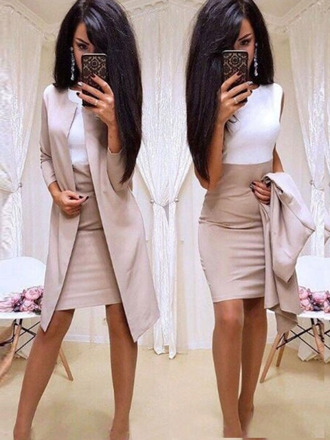 Trajes nuevos de oficina para mujer, vestido Formal, ropa de negocios, Chaqueta larga para mujer, vestido de vaina, conjuntos de 2 piezas, 2019