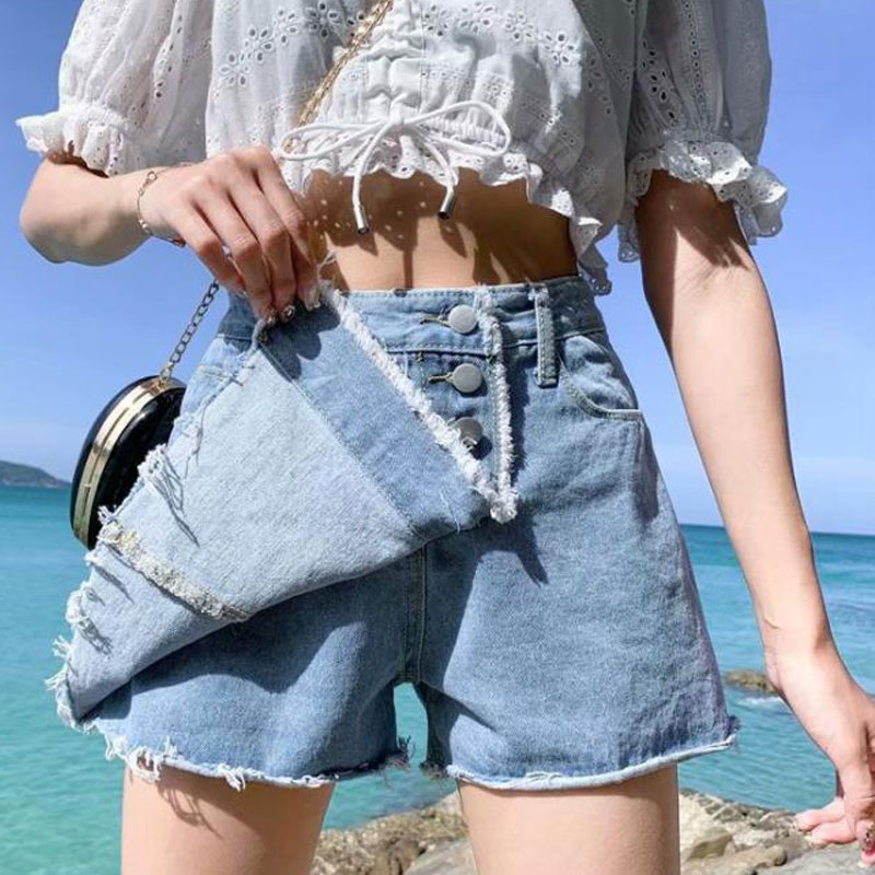 Skirt Denim Shorts White Korean Vintage Wide Leg High Waist Female Loose Women's Summer Shorts Jeans Button