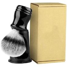 Synthetic Badger Shaving Brush with Black Holder Stand 2IN1 Resin Handle Foam Brush Set for Men Close Wet Shave