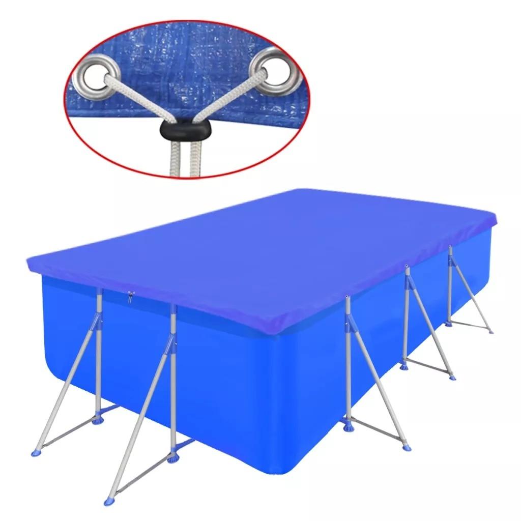 VidaXL Pool Cover PE Rectangular 90 G/Sqm 540 X 270 Cm 90592 Dark Blue Polyethylene 100% Pool Cover With Small Drain Holes