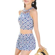 Yfashion 2PCS/Set Women Fashion Sweet Style Fashion Printing Swimsuit Set yfashion women fashion stripes printing dress briefs swimwear