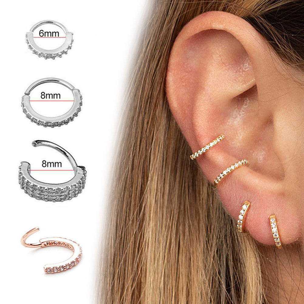 1PC 6-10mm Nose Hoop Nostril Ring Flower Helix Cartilage Tragus Earring Cartilage Huggie Hoop Earring Jewelry