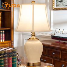 Amerykańskie ceramiczne stołowe lampa do sypialni salon lampka nocna do pokoju biurko szkolne lampa Retro amerykański kraj lampa stołowa home decor tanie tanio TUDA CN (pochodzenie) Foyer Kości słoniowej Dół Ue wtyczka 110 v 220 v 90-260 v Pokrętło przełącznika Żarówki led