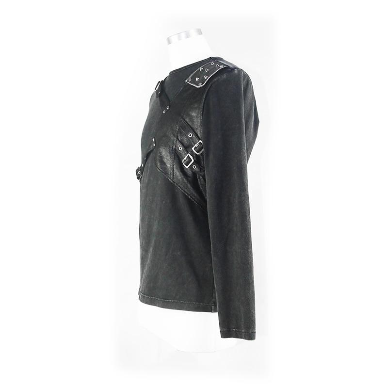 Футболка для мужчин стимпанк Круглый вырез простой черный укороченный топ кожаный ремень для забавных Slim Fit Топы - 4