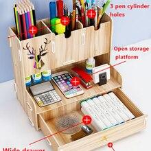 Rack-Supplies Pencil-Holder Office-Desk-Organizer Storage Wood Desktop Ayane Creative