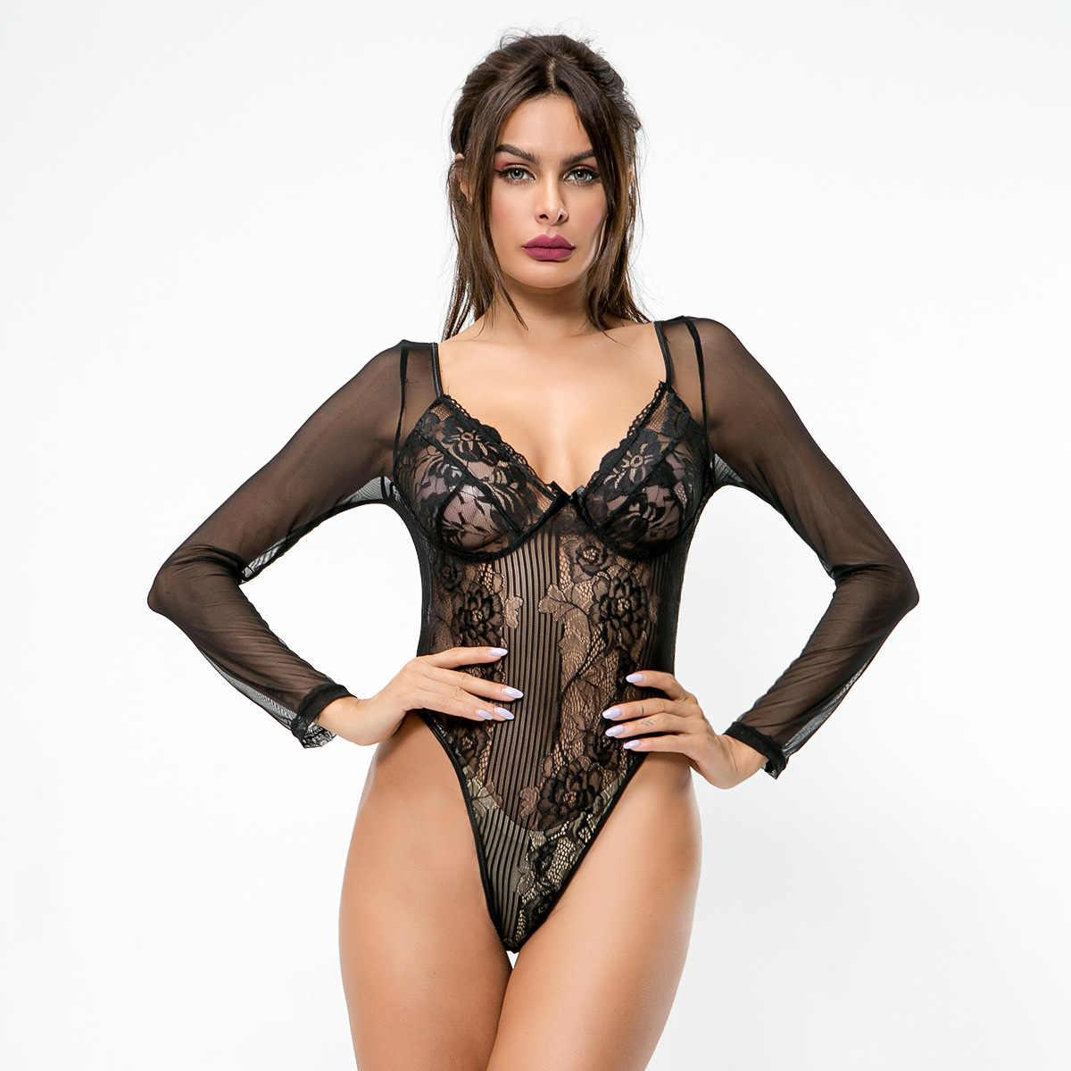 HITAM PINK Stoking Jala Bodysuit Seksi Renda Teddy Tubuh Cocok untuk Wanita Wanita Satu Potong Pakaian Dalam Wanita Lengan Panjang Fetish Mesh Catsuit panas