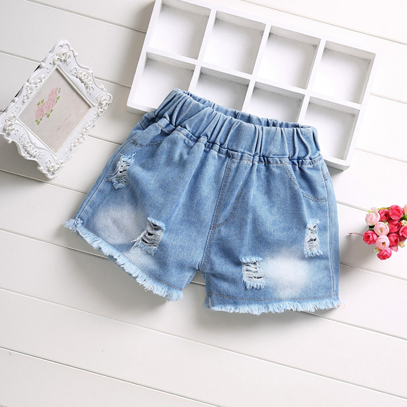Summer Fashion Girls Soft Denim Pocket Short Jeans Pants Baby Casual Trousers Kids Shorts Children's Clothing For 2-12