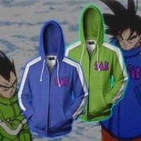 Newest Dragon Ball Z Super Saiyan Goku 3D Printed zip Hoodies Men Women Jacket Vegeta Goku Cosplay Anime Hooded Sweatshirt S 5XL