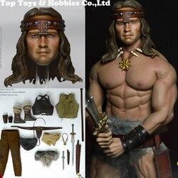 Kustic Plastik MC01-2019 1/6 Barbarian Conan Arno ropa de cuero Conjunto de Armas con cabeza para cuerpo masculino de 12 pulgadas M34