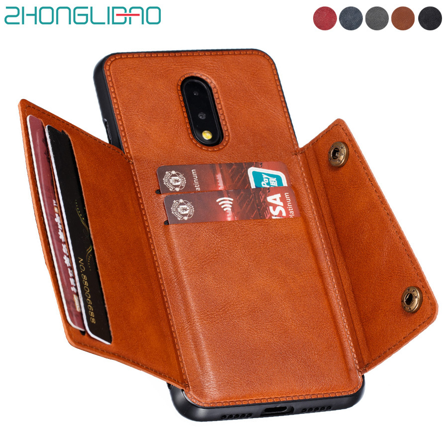 One Plus 7 8 7t Pro Case Cover Card Wallet Phone Case for Oneplus 7t 7 T Pro Global Leather Car Magnetic Stand Silicone Frame image