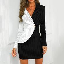 Women Turn Down Neck Long Sleeve Buttons Striped Patchwork Bodycon Blazer Dress