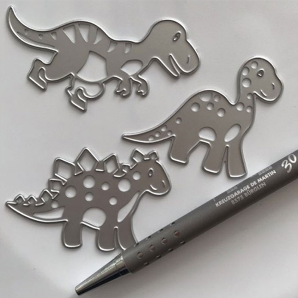 Metal Cutting Dies 3PCS Lovely Dinosaurs Stencils For Scrapbooking DIY Photo Album Paper Card Decorative Craft Embossing