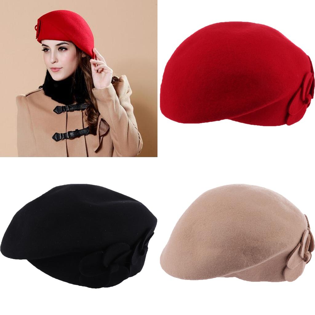 Women Winter French Wool Beret Warm Fashion Hats Flower Beanie Caps