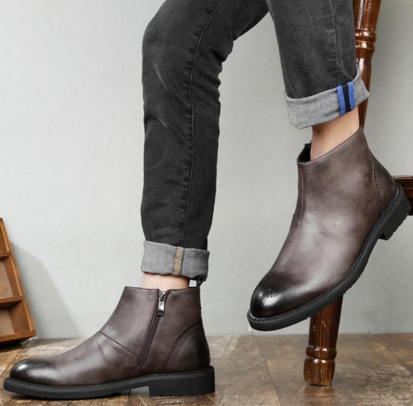Мужская обувь; обувь для верховой езды из натуральной свиной кожи; сезон осень; мужские рабочие ботинки из натуральной кожи в британском стиле; Мужская обувь с шипами - 3