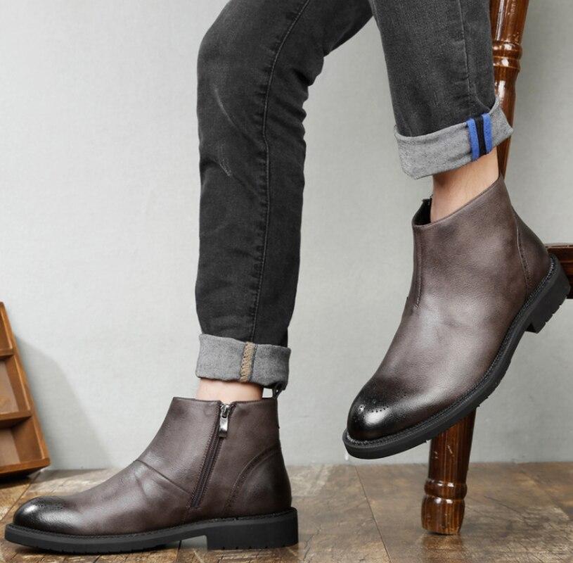 Heren Schoenen Echt Leer RidingEquestrian Varkensleer Herfst Britse Lederen Mannen Werken Laarzen voor Heren Beslagen Schoenen - 3