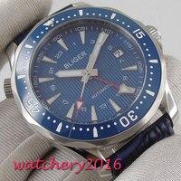 41mm bliger azul dial cerâmica moldura de vidro safira data luxo movimento automático relógio masculino