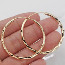 Huitan Classic Simple Hoop Earring for Women Gold Color Geometric Pattern Suit Various Occasions Metal Versatile Female Jewelry