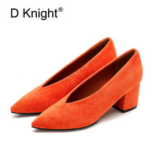 Korean High Thick Heel Single Shoes Female 2020 New High-heeled V-port Lady Shoes Comfortable Cashmere Women's Work Pumps Shoes 2017 spring and summer japanned leather thick heel high heeled shoes bow ol formal work shoes female black with the single shoes