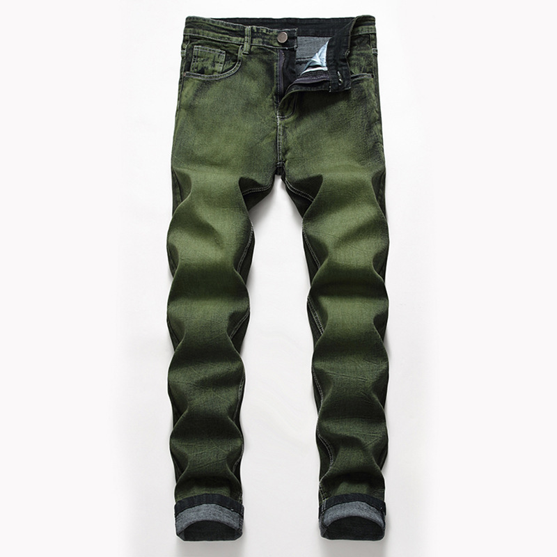 2020 Men New Elastic Leisure Jeans Young Army Green Straight Jeans
