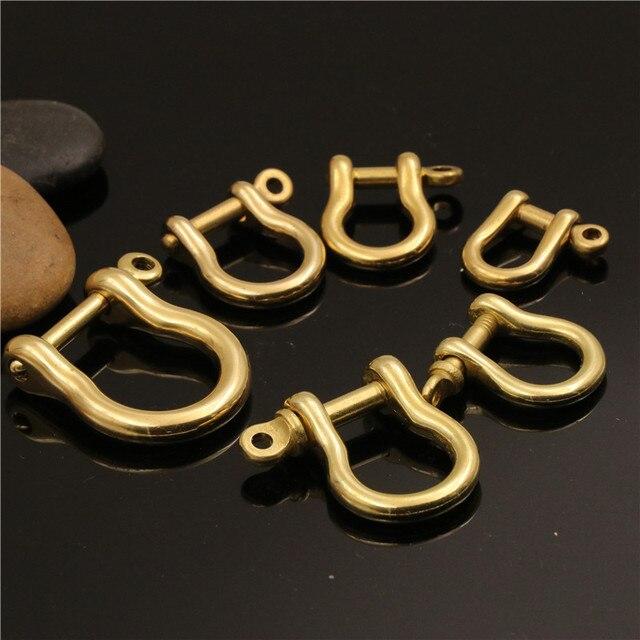 2 pièces en laiton massif mousqueton D Bow agrafes manille Fob crochet pour porte-clés pendentif vis connecteur boucle en cuir artisanat accessoires