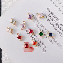50pcs 7*10.5mm Mixed Color Mini Crystal Square Beads Connector Charm for Bracelet/Earring DIY Handmade Fashion Jewelry Making