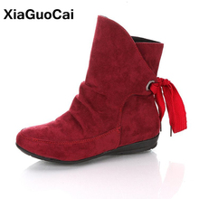 Autumn Winter Woman Ankle Boots Round Toe Warm Female Martin Boots High Quality Plus Size Women Shoes Hot Sale Lace Up hee grand lace up rain boots woman fashion med heels new shoes woman high quality casual hot sale women boots size 36 40 xwx4924