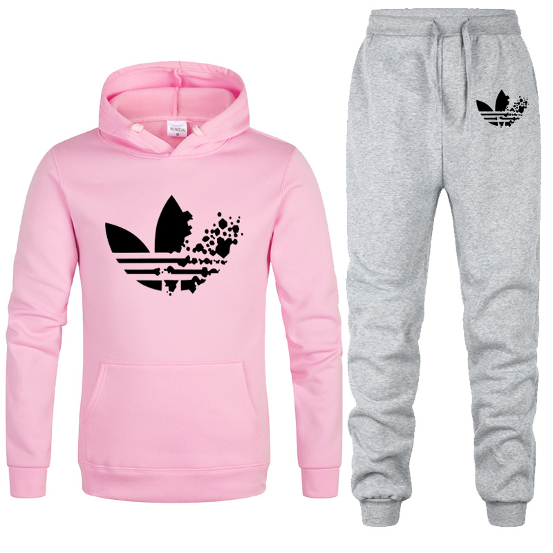 New Sport Suit Hoodie Brand Hooded Women Casual Cotton Fall/Winter Warm Hoodies Sweatshirts WOmen Casual Tracksuit Costume+pants