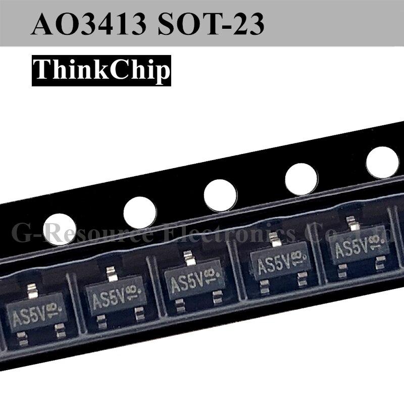 Free Shipping 50 Pcs / Lot AO3413 AS5V SOT-23 P-Channel -20V -3A (Ta) 1.4W (Ta) SMD Mosfet Transistor New Original