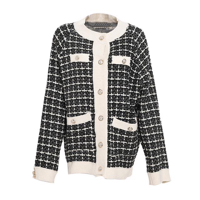 [EWQ] Autumn 2020 New Sweater Coat Retro Shirt Check Long Sleeve Single Breasted Plaid Loose Knit Cardigan Tide Ladies QB321 6