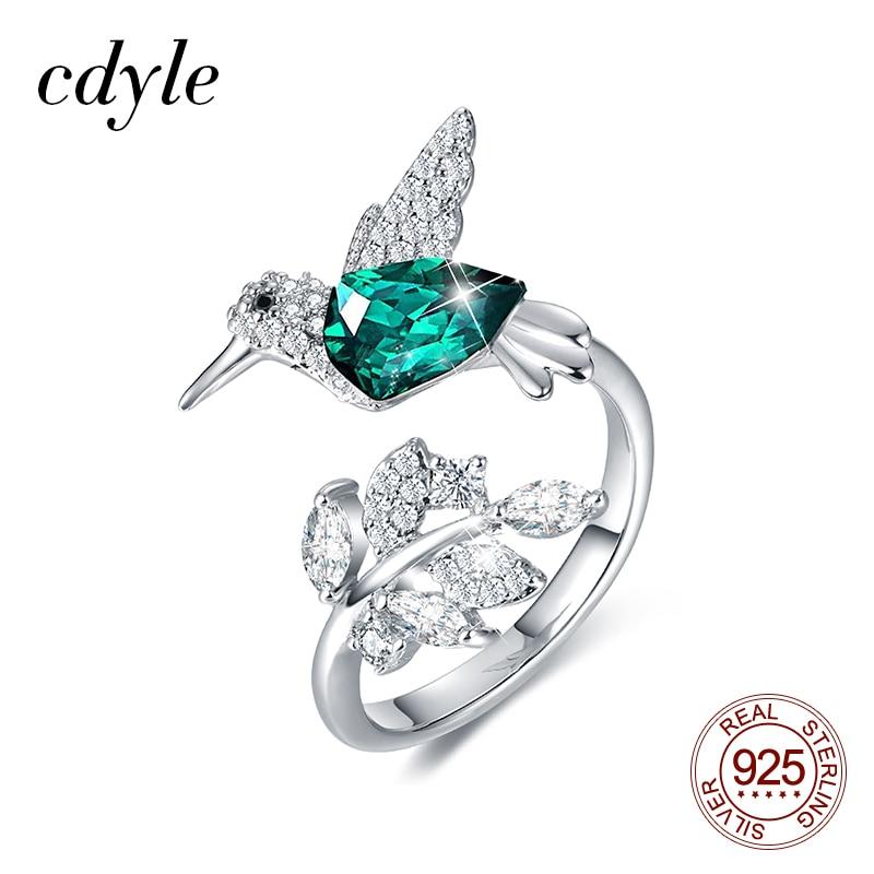 Hummingbird Necklace Earrings Set Pave Rhinestone Blue Green SILVER Jewelry
