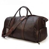 Big Capacity Genuine Leather Travel Bags Men Women Soft Black Cowhide Casual Travel Duffel large luggage Weekend shoulder bag