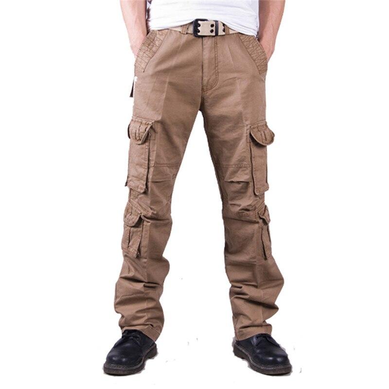 OCHENTA Boys Cotton Military Cargo Pants 8 Pockets Casual Outdoor Slacks