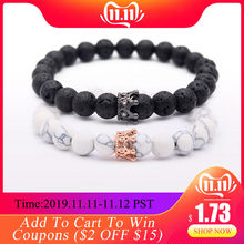 8mm Natural Stone Beads Bracelets & Bangles King Queen Couple Bracelet for Lovers His And Hers Jewelry Handmade MBR180309(China)