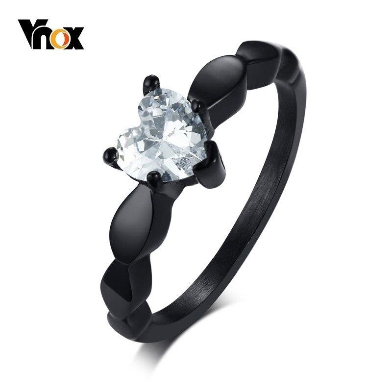 Vnox Heart Love Engagement Rings for Women Bling CZ Black Stainless Steel Female Alliance Jewelry 1