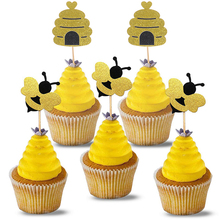 12Pc Glitter Bee and Beehive Cake Toppers Baby Shower Happy Birthday Decoration Wedding Gold Black Cakes Dessert Decor