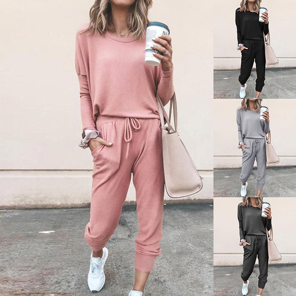 Women Loose Solid Color Long Sleeve Casual Suit Batwing Sleeve Autumn Tracksuit Sweatshirts  2 Piece Set Women Clothing Set