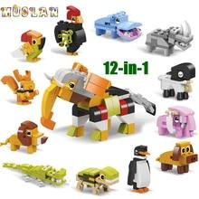 동물의 세계 12 in 1 빌딩 블록 벽돌 세트 코끼리 사자 호환 Lepining 생성자 어린이를위한 교육 장난감