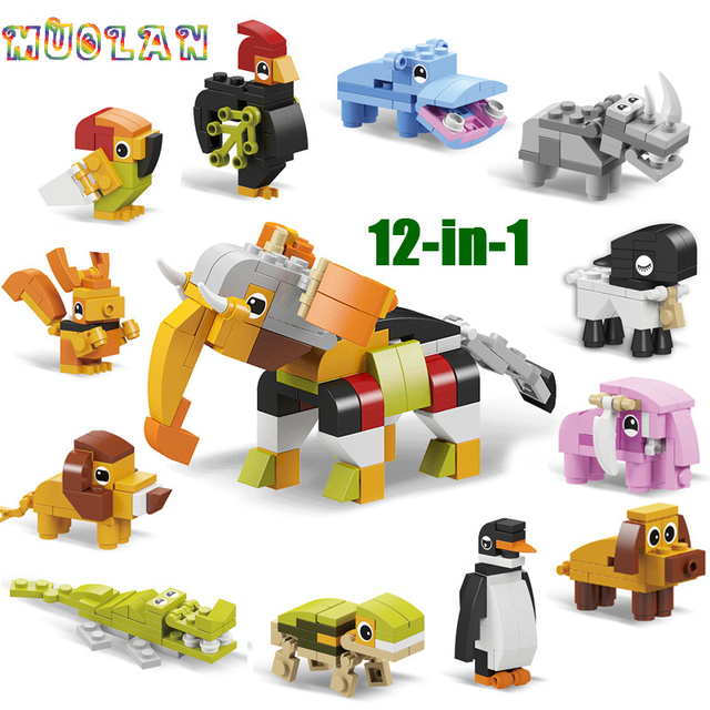 Animal world  12 in 1 Building Block Brick Set Elephant Lion Compatible Lepining  Constructor Educational Toy for Children