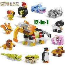 Mondo animale 12 in 1 Building Block Brick Set Elephant Lion Compatibile Lepining Costruttore Giocattolo Educativo per I Bambini