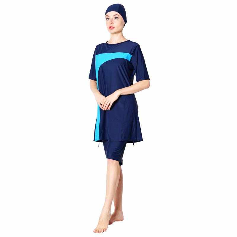 DROZENO زائد حجم ملابس سباحة إسلامية النساء متواضع خليط غطاء كامل قصيرة الأكمام ملابس السباحة حجاب إسلامي الإسلام Burkinis ارتداء حمام
