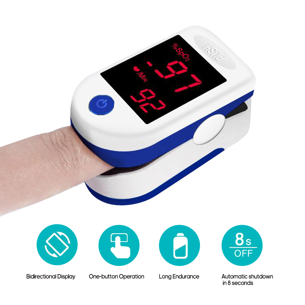 Fingertip Pulse Oximeter With LED Display Digital Oximeter Blood Oxygen Sensor Saturation SpO2 Monitor Measurement Meter