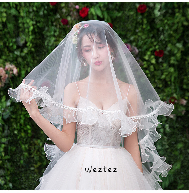 Bridal Wedding Veil Single Layer White Swiss Net Veil Wedding Bride Wedding Fashion Wave Lace Side TS257