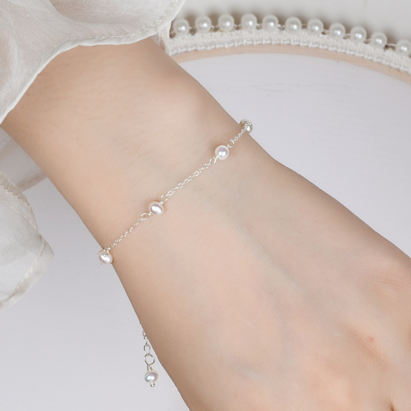 ASHIQI Real 925 sterling silver Chain Bracelet for women 4-5mm Mini Natural Freshwater Pearls Jewelry Gift Wholesale(China)