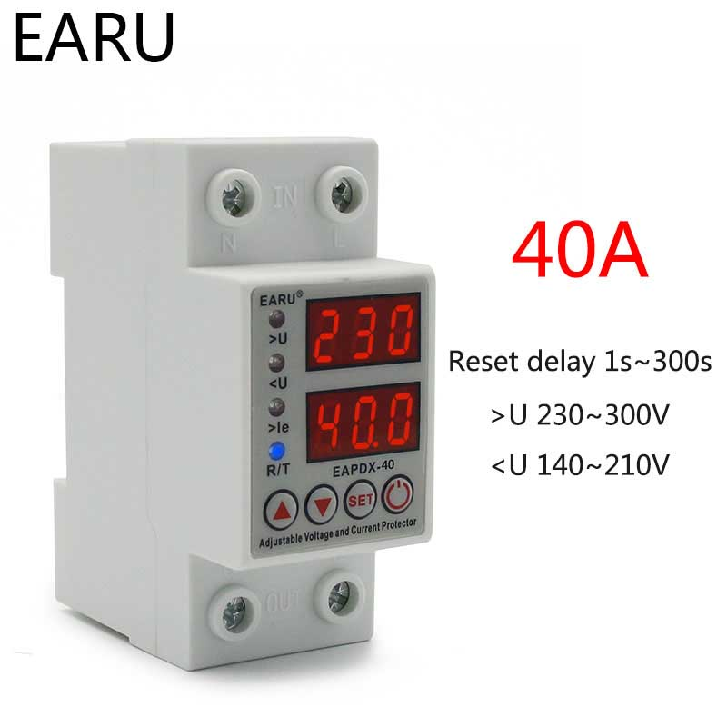 Hf2a28ccc1b5f4ac594aeead9dce150dfx - 40A 63A 230V Din Rail Adjustable Over Voltage And Under Voltage Protective Device Protector Relay Over Current Protection Limit