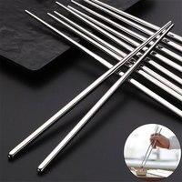 Juego de palillos de acero inoxidable Metal chino, antideslizante, portátil, reutilizable, para comida, palitos de Sushi, utensilios de cocina para el hogar