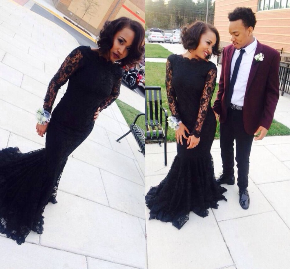 Black Lace Mermaid Evening Prom Gown Long Sleeves 2020 Arabic Elegant Party Gowns Robe De Soiree