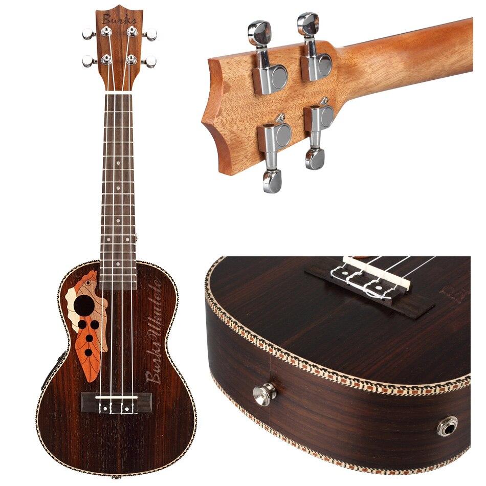 Nouveau ukulélé électrique acoustique avec ukulélé EQ avec cordes Aquila 23 pouces petite guitare hawaïenne + sac noir