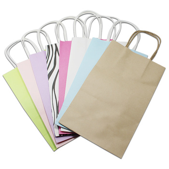 50Pcs 21x13x8cm Stand Up Kraft Paper Package Bags Scarf Clothes Storage Bags Portable Boutiques Bags for Christmas Gift Pack